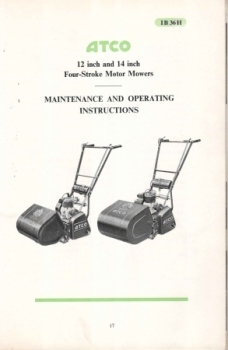 "Atco 12"" and 14"" Maintenance and Operating Instructions"